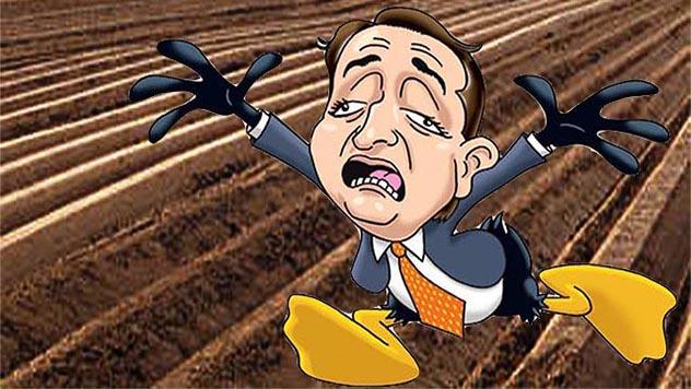 političar u kampanji i poljoprivreda